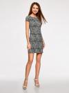 Платье трикотажное принтованное oodji для женщины (черный), 14001117-7/16564/2912O - вид 6