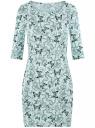 Платье трикотажное облегающего силуэта oodji #SECTION_NAME# (зеленый), 14001121-4B/46943/6579U