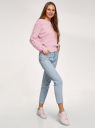 Джемпер ажурный с длинным рукавом oodji для женщины (розовый), 63807372/35472/4000N