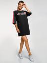 Платье прямого силуэта с надписью на груди oodji #SECTION_NAME# (черный), 14008030-1/46173/2945P - вид 6