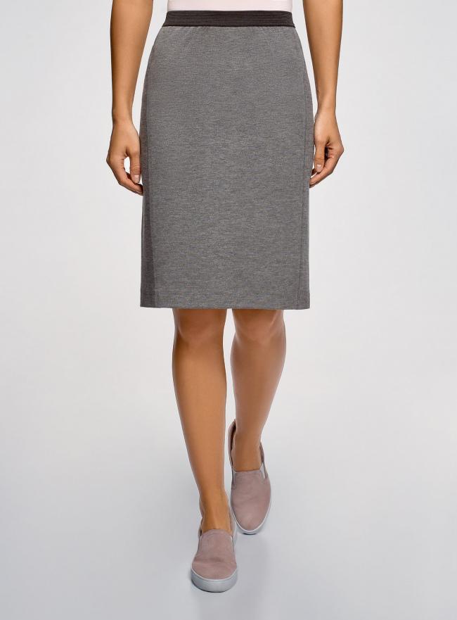 Юбка-карандаш с эластичным поясом oodji для женщины (серый), 14101084/33185/2501M