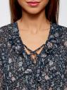 Блузка принтованная с воланами и стразами oodji #SECTION_NAME# (синий), 11411110/10466/7919F - вид 4