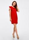 Платье с рукавами-крылышками и украшением на горловине oodji #SECTION_NAME# (красный), 21909002/42720/4500N - вид 6
