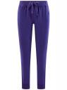 Брюки трикотажные на завязках oodji #SECTION_NAME# (фиолетовый), 16701042-1B/46919/7500N
