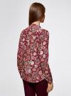 Блузка из вискозы принтованная с воротником-стойкой oodji #SECTION_NAME# (красный), 21411063-2/26346/4959F - вид 3
