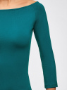 Футболка с рукавом 3/4 и открытыми плечами oodji для женщины (бирюзовый), 14207007/46867/6C00N