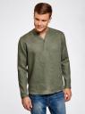 Рубашка льняная без воротника oodji #SECTION_NAME# (зеленый), 3B320002M/21155N/6600N - вид 2
