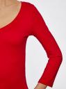 Футболка с V-образным вырезом и рукавом 3/4 oodji для женщины (красный), 24211002B/46147/4501N