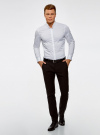 Рубашка приталенная с воротником-стойкой oodji для мужчины (белый), 3L140115M/34146N/1000N - вид 6