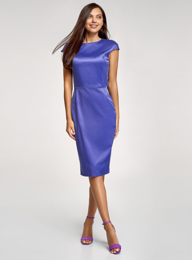 Платье-футляр с вырезом-лодочкой oodji #SECTION_NAME# (синий), 11902163-1/32700/7500N