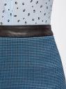 Юбка прямая с отделкой из искусственной кожи oodji для женщины (синий), 11602175-1/38281/7970G