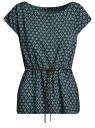Блузка принтованная из вискозы oodji #SECTION_NAME# (зеленый), 11400345-2/24681/6E12G