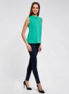 Блузка базовая без рукавов с воротником oodji #SECTION_NAME# (зеленый), 11411084B/43414/6D00N - вид 6