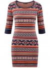 Платье жаккардовое с геометрическим узором oodji #SECTION_NAME# (красный), 14001064-5/46025/3133J