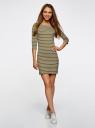 Платье трикотажное базовое oodji #SECTION_NAME# (зеленый), 14001071-2B/46148/6630S - вид 2