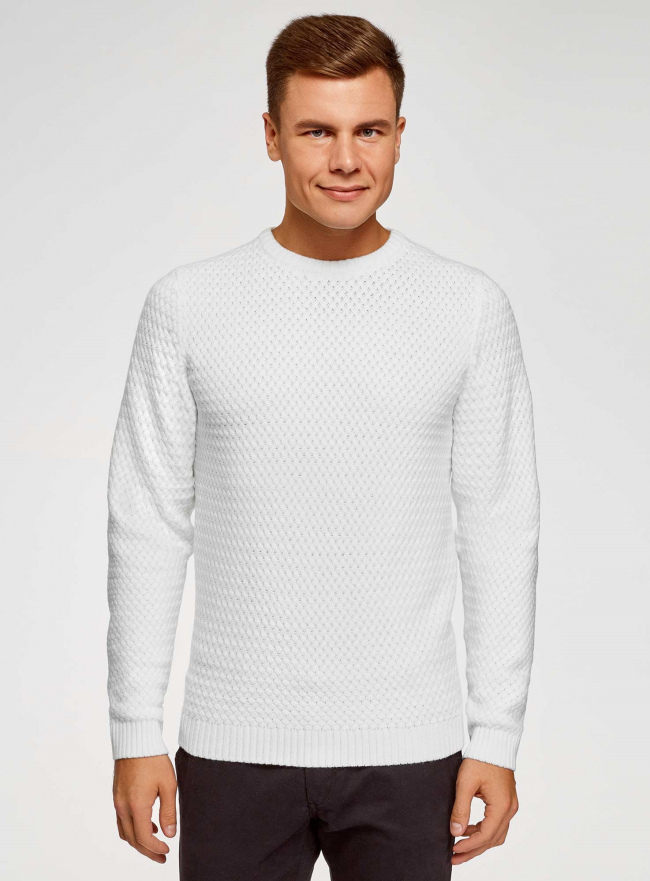 Джемпер ажурной вязки с круглым вырезом oodji для мужчины (белый), 4L105066M/25365N/1200N