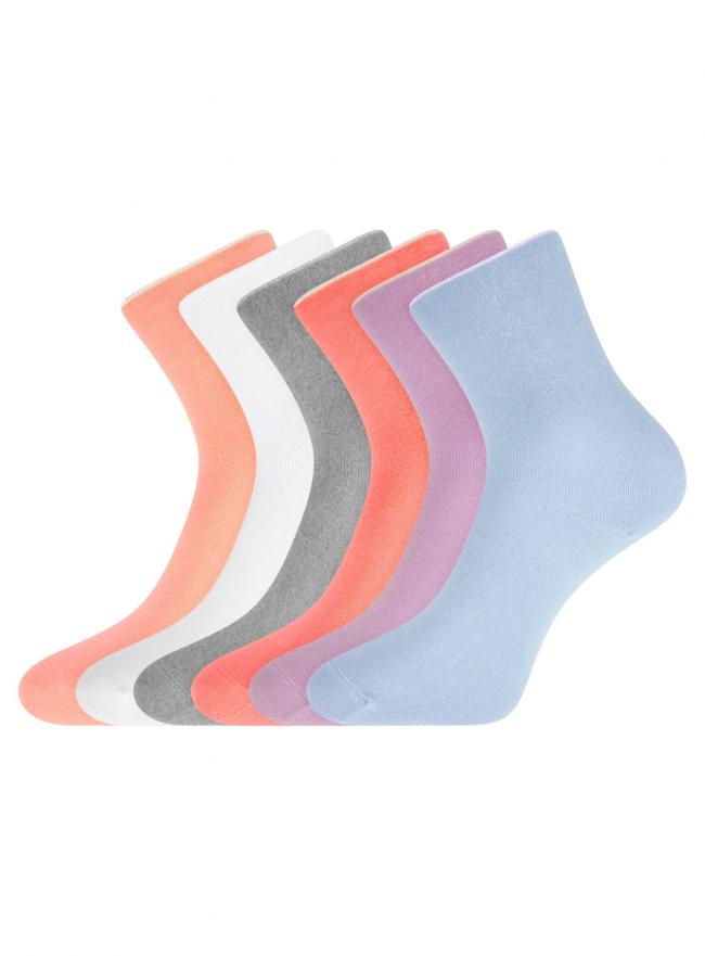 Комплект из шести пар хлопковых носков oodji #SECTION_NAME# (разноцветный), 57102804T6/48022/14