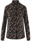 Блузка вискозная с нагрудными карманами oodji #SECTION_NAME# (черный), 21411126-1/48458/2945E