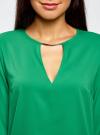 Блузка с вырезом-капелькой и металлическим декором oodji #SECTION_NAME# (зеленый), 21400396/38580/6D00N - вид 4