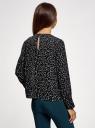 Блузка свободного силуэта с вырезом-капелькой на спине oodji #SECTION_NAME# (черный), 11411129/45192/1229A - вид 3