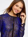 Блузка из струящейся ткани с контрастной отделкой oodji #SECTION_NAME# (синий), 11411059-2/38375/7829A - вид 4