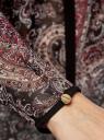 Блузка из струящейся ткани с контрастной отделкой oodji #SECTION_NAME# (черный), 11411059-2/38375/2966E - вид 5