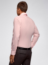 Рубашка базовая приталенная oodji #SECTION_NAME# (розовый), 3B140000M/34146N/4100N - вид 3