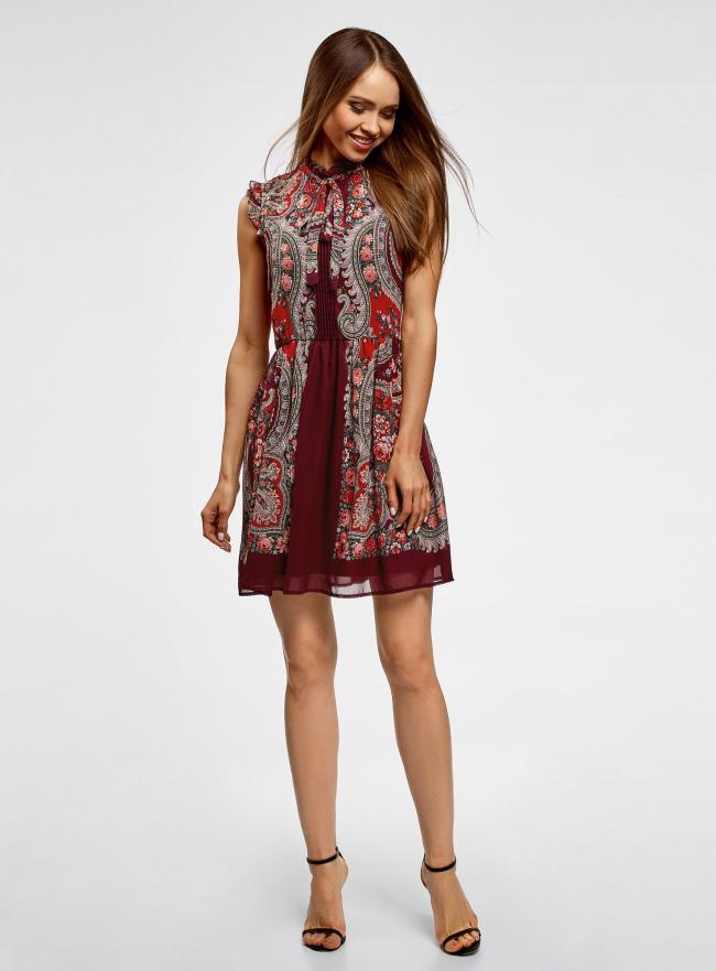 Платье шифоновое с принтом в восточном стиле oodji для женщины (красный), 11900188-1M/15018/4943F