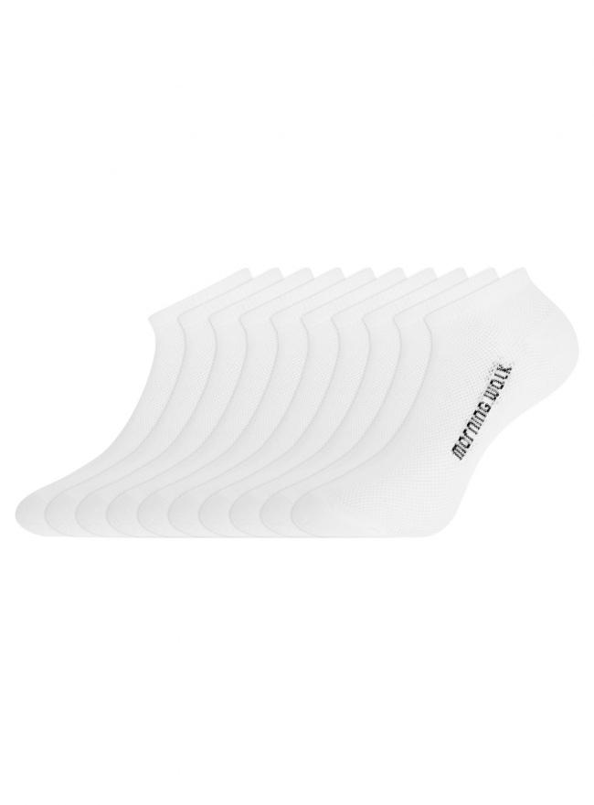 Комплект укороченных носков (10 пар) oodji для женщины (белый), 57102604T10/48022/2