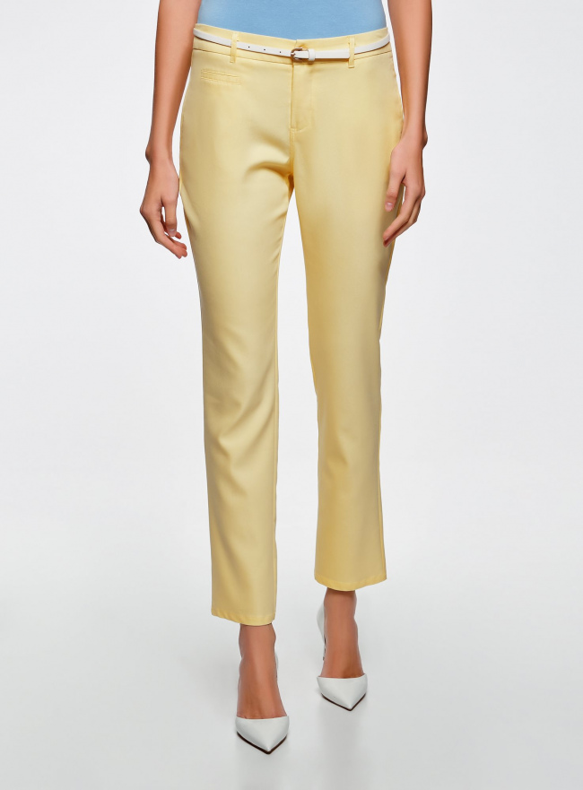 Брюки легкие прямые oodji для женщины (желтый), 11700195/35669/5000N