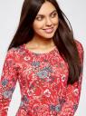 Платье трикотажное с вырезом-капелькой на спине oodji #SECTION_NAME# (красный), 24001070-5/15640/4530F - вид 4