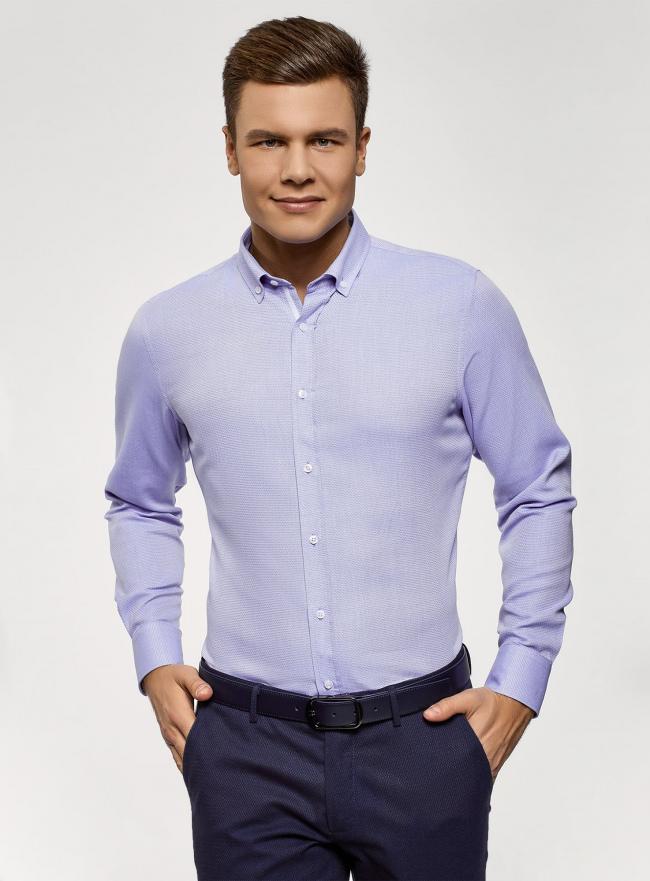 Рубашка приталенная из фактурной ткани oodji #SECTION_NAME# (синий), 3B110015M/46246N/7070B