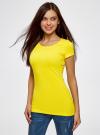 Футболка базовая приталенная oodji для женщины (желтый), 14701005-7B/46147/5100N - вид 2