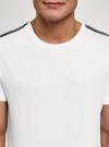 Футболка хлопковая с лампасами oodji #SECTION_NAME# (белый), 5L641001I-22/44135N/1000B - вид 4