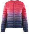 Куртка стеганая с круглым вырезом oodji #SECTION_NAME# (розовый), 10204040-1B/42257/4D79T