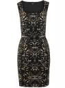 Платье-футляр без рукавов oodji #SECTION_NAME# (черный), 14015001/36233/2933A