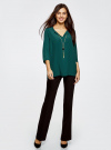 Блузка прямого силуэта с украшением oodji #SECTION_NAME# (зеленый), 21404021/43281/6E00N - вид 6