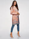 Пальто хлопковое на кнопках oodji #SECTION_NAME# (розовый), 10103038/14522/5423E - вид 6