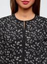 Блузка из струящейся ткани с контрастной отделкой oodji #SECTION_NAME# (черный), 11411059B/43414/2912F - вид 4