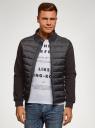 Куртка комбинированная с воротником-стойкой oodji #SECTION_NAME# (черный), 5L911039M/25278N/2900N - вид 2