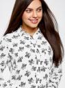 Блузка принтованная из шифона oodji #SECTION_NAME# (белый), 11400394-5/36215/1229F - вид 4