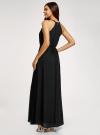 Платье макси с завязками на талии oodji для женщины (черный), 11911009/42629/2900N - вид 3