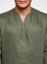 Рубашка льняная без воротника oodji #SECTION_NAME# (зеленый), 3B320002M/21155N/6600N - вид 4
