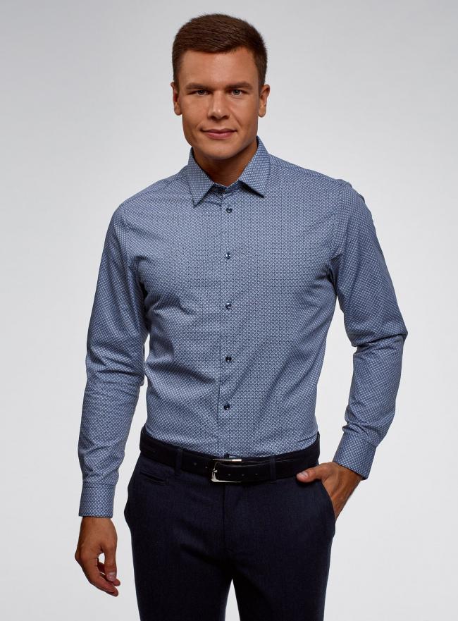 Рубашка хлопковая в мелкую графику oodji #SECTION_NAME# (синий), 3L110327M/19370N/7510G