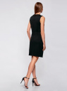 Платье трикотажное с декором из камней oodji для женщины (черный), 24005134/38261/2900N