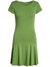 Платье трикотажное с воланами oodji #SECTION_NAME# (зеленый), 14011017/46384/6200N