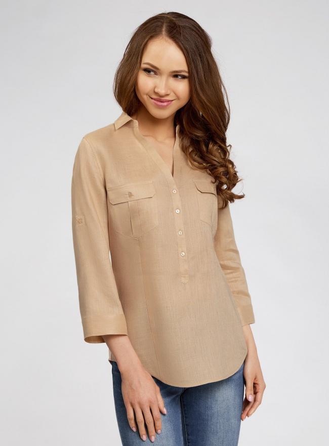 Блузка льняная с карманами oodji для женщины (бежевый), 21412145-1/46591/3300N