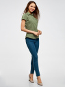 Рубашка базовая с коротким рукавом oodji для женщины (зеленый), 11402084-5B/45510/6200N