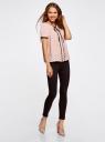 Блузка с коротким рукавом и контрастной отделкой oodji для женщины (розовый), 11401254/42405/4029G