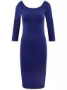 Платье облегающее с вырезом-лодочкой oodji для женщины (синий), 14017001/42376/7500N